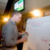 Newburyport: Michael's Harborside manager Ben Treshinsky fills out the brackets for Wii night . Jim Vaiknoras/staff photo