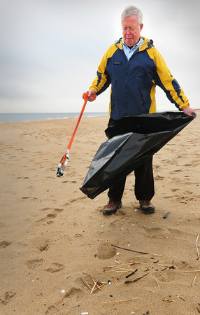 Plum Island: Walter Thomson is in charge of a new program at Parker River National Wildlife Refuge that gets volunteers together to clean up the beach on a regular basis. A clean up is scheduled for the end of March.  Bryan Eaton/Staff Photo