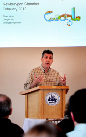 Newburyport: Steve Vinter, director at Google addresses those in attendance at yesterday's Greater Newburyport Chamber of Commerce and Insdustry's Breakfast Series. Bryan Eaton/Staff Photo