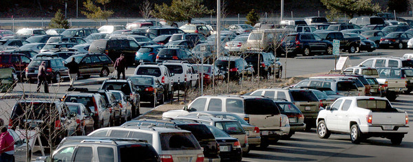 Newburyport: Despite the expansion of the Park and Ride on Storey Avenue in Newburyport, the lot is now overflowing with cars parked behind cars that are in spaces. Bryan Eaton/Staff Photo