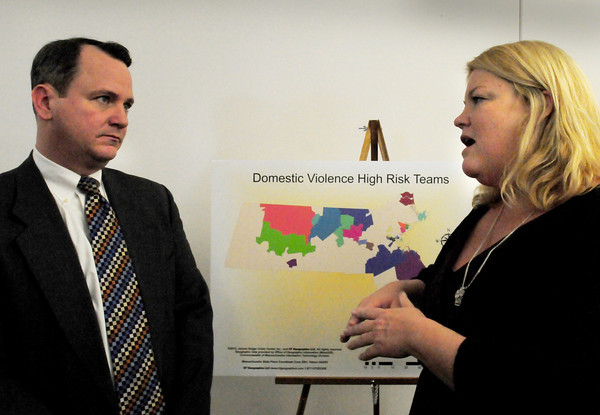 Newburyport: Lt. Governor Tim Murray meets with Suzanne Dubus of the Jeanne Geiger Crisis Cetner at a press conference on the success of the center's High Risk Response Team in preventing domestic violence murders. Bryan Eaton/Staff Photo