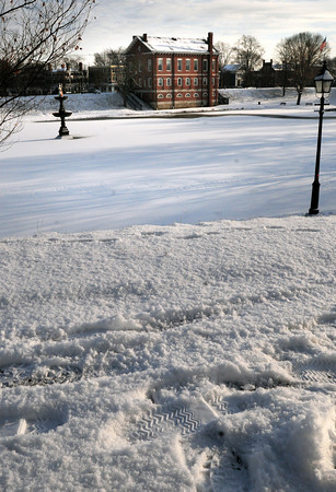 Newburyport: Newburyporters woke up to a wintry scene at the Bartlet Mall yesterday morning, site of Sunday's Winter Carnival. The weather, though may not be so wintry with no real snow in the forecast and Sunday predicted to be above freezing. Bryan Eaton/Staff Photo