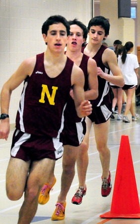 Ipswich: Newburyport track team runners, from left, Chris Suprin, Keith Conway and Chris Orlando in a meet earlier this month. Bryan Eaton/Staff Photo