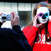 Amesbury: Sierra Cote, 13, takes a of photo of Arian White, 12, wearing her panda bear mask she made in Susan Olsen's art class at the Amesbury Middle School. They were learning about the transformative power of masks and then recording them with a different medium, the camera. Bryan Eaton/Staff Photo