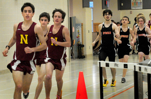 Ipswich: Three Newburyport runners break away from Ipswich in the 2 mile, from left, Chris Suprin, Chris Orlando, Keith Conway and Ipswich Sam Perakis, Casey Reale and Colin Senechal. Bryan Eaton/Staff Photo