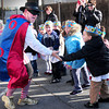 Newburyport: Zero the Hero arrived by limousine to the Brown School yesterday to the thrill of the children gathered in the playground. The math crusader visits classrooms the first half of the year to help children with math in multiples of 10's then makes his final visit on the 100th day of school followed by parties in the classrooms. Bryan Eaton/Staff Photo