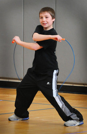 Salisbury: Sam Rennick, 11, does some fancy jump rope moves to music in gym class at Salisbury Elementary School on Wednesday morning. Students there are practicing for the Jump Rope For Heart event on February 29 which is a fundraiser for the American Heart Association. Bryan Eaton/Staff Photo