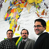 Amesbury: From left, Kevin Leach, Alex Burgess and Rev. Michael John of the Main Street Congregational Church in Amesbury. Bryan Eaton/Staff Photo
