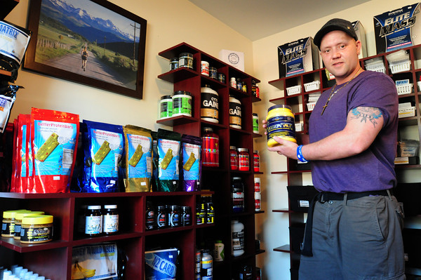 Salisbury: Nathan Chase in his Need to Build Muscle supplement and vitamin store on Route 110 in Salisbury. Bryan Eaton/Staff Photo
