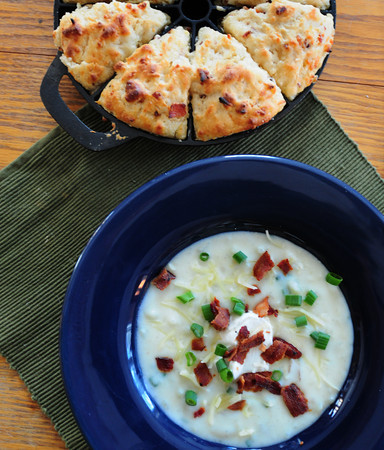 Newburyport: Maple Scones, top, and Beer and Baked Potato Soup garnished with bacon and scallions. Bryan Eaton/Staff Photo