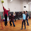 "Newburyport: Teens at the Kelley School Teen Center play a game of ""crazy ball"" on Wednesday afternoon. The rules are similar to basketball, though a little looser in that almost anything goes except for any contact with other players. Bryan Eaton/Staff Photo"