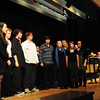 "Amesbury: With the Amesbury Police Department Color Guard holding the U.S. Flag, the Amesbury High School selective choir ""The Rhythmics"" sing the National Anthem at the inauguration of Mayor Thatcher Kezer along with the swearing in of other city officials on Tuesday night. Bryan Eaton/Staff  Photo"