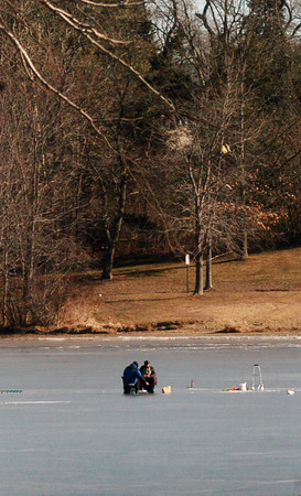 Amesbury: Ice fisherman braved the cold yesterday morning on Lake Gardner in Amesbury, just off the beach area.