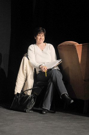 Newburyport:  Surfaceauthor  Leslie Pasternack , during a rehersal  for  th Firehouse's New Works Festival. Jim Vaiknoras/staff photo