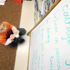 Amesbury: Carter Landry, a student in Sue Holt's first grade class at Amesbury Elementary school, copies words of incouragement on a hand made wooden heart. The heart along with hundred of others will be send to wounded soilders at Walter Reed Hospital, jim vaiknoras/Staff photo