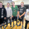 West Newbury: Pentucket wrestling captains: Kevin Clark, Jeff Funk, Benjamin Meuse, Mike McCarron and Tom Funk. JIm Vaiknoras/staff photo