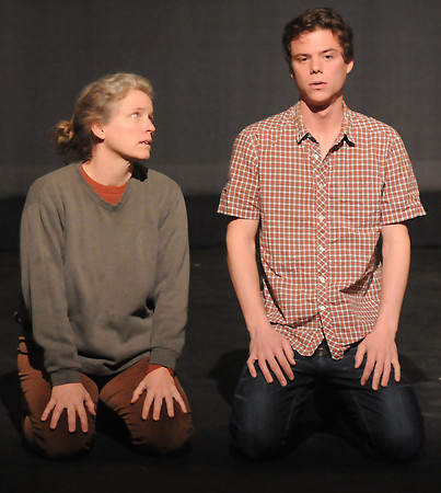 "Newburyport:  Hal Fickett and Lynne Lori Sylvan during a rehersal of "" Surface""  for  the Firehouse's New Works Festival. Jim Vaiknoras/staff photo"