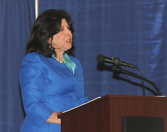 Newburyport: Mayor Donna Holaday gives her inaugural address in City Hall auditorium Monday. Jim Vaiknoras/staff photo