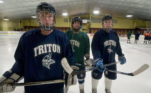 Newburyport: Triton's 2nd line, Schyler Reilly, Josh Brown, and Mike Fish at practice at the Graf Rink. Jim Vaiknoras/staff photo