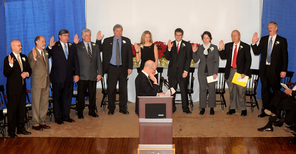 Newburyport: Members of the newly elected City Council take the oath of office during Monday's City of Newburyport inauguration at City Hall. Jim Vaiknoras/staff photo