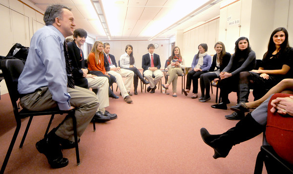 Newburyport: Matt LaChapelle talks with a group of students whom he lead on a field trip to New Hampshire to learn about the presidential election process. Jim Vaiknoras/staff photo