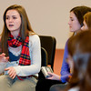Newburyport: Newburyport High School student Rhiannon Pyle, 17, talks about her exchange with Republican presidential candidate Rick Santorum, while on a field trip to New Hampshire. Jim Vaiknoras/staff photo