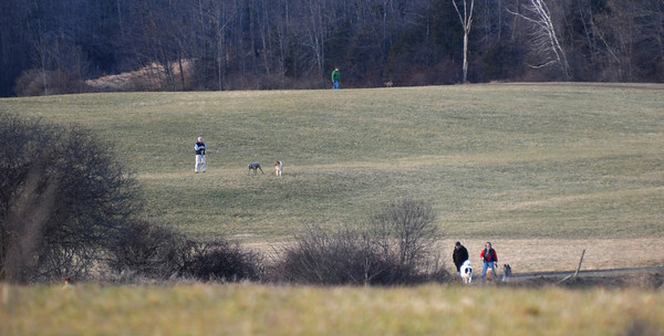 Amesbury: People take advantage of the warm weather to take a walk with their dogs in Woodsom Farm in Amesbury Sunday. Jim Vaiknoras/staff photo