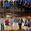 Newburyport: A group of sixth-graders were on hand to give out gifts to Newburyport's former mayors during Monday's inauguration at City Hall. Jim Vaiknoras/staff photo