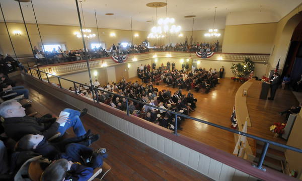 Newburyport: People fill the auditorium at City Hall for Monday's inauguration ceremony at Newburyport City Hall. Jim Vaiknoras/staff photo