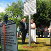 Salisbury: State representative Mike Costello and Bev Gulazian, chairman of the Salisbury HIstorical Commision and secretary of the Salisbury Historical Society, look at the restored plaque in Pot Lid Square that was unveiled yesterday. Three other replicas of historical markers long gone were placed in various locations around town. Bryan Eaton/Staff Photo