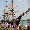 Newburyport: The HMS Bounty attracted many people as it arrived yesterday morning. Tours of the replica ship will take place today and tomorrow. Bryan Eaton/Staff Photo