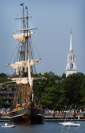 Newburyport: The HMS Bounty makes a turn-around on the Newburyport Waterfront as scores watched the ship arrive yesterday morning. Bryan Eaton/Staff Photo