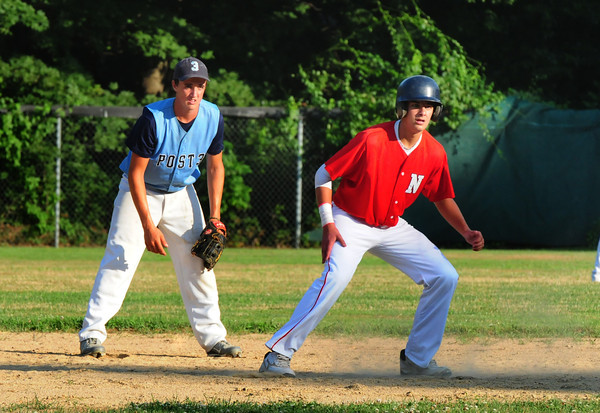 Newburyport: Newburyport's Connor MacRae leads off second base as Gloucester shortstop Tyler Favoloro covers. Bryan Eaton/Staff Photo