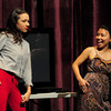 Byfield: YouTube sensation Miranda Sings, left, hams it up with Futaba Shioda from the Boston Children's Theatre at the Governor's Academy yesterday. She was appearing to help the students at a summer program there. Bryan Eaton/Staff Photo