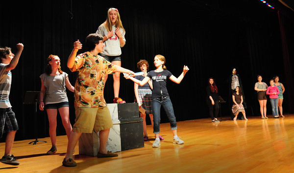 Amesbury: Students perform the duel scene of Romeo and Juliet in the play   Crumpled Classics at Amesbury Middle School. Bryan Eaton/Staff Photo