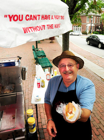 Amesbury: Self-proclaimed King of hot dogs, Charlie LaBella is set up in Amesbury's Market Square. Bryan Eaton/Staff Photo