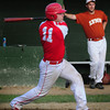 Rowley: The Nor'Easters Mac Short hits a single last night at Eiras Field in Rowley. Bryan Eaton/Staff Photo