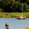 Amesbury: Fisherman enjoy beautiful weather as the fish off Deer Island in Amesbury Sunday afternoon. Jim Vaiknoras/staff photo