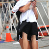 Newburyport: Benjamin St. Lawrence gets a hug from his mom Bess after crossing the finish line in the 5kTuesday night at the annual Lions Club Race. Jim Vaiknoras/staff photo