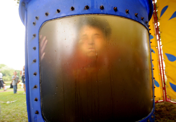 Newburyport: Jack Donahue gets a fish-eye's view after getting dunked in the dunk tank at Old-Fashioned Sunday on the Bartlet Mall In Newburyport. Jim Vaiknoras/Staff photo