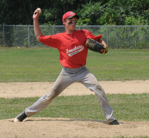 Rowley:Brad Kelleher  pitches for Amesbury  against Tritonat Eiras Field in Rowley Sunday. Jim Vaiknoras/staff photo