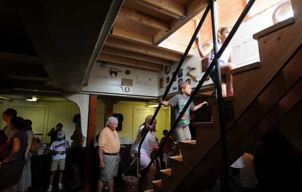 Newburyport:Visitors move up from the lower deck as they learn about  life during the Age of Sail aboard HMS Bounty which was docked along the Newburyport waterfront this weekend. Jim Vaiknoras/staff photo