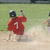 Rowley:  Newburyport Red's Tyler Chaisson slides safely into 2rd as  Newburyport Blue's Justin Cashman waits for the throw during their<br /> Junior Legion game at Eiras field in Rowley Sunday morning. Jim Vaiknoras/staff photo