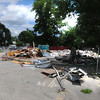 Amesbury: Debris from the demolished Amesbury House of Pizza on Main Street in Amesbury waits to be removed to make way for CVS. Jim Vaiknoras/staff photo