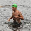 Amesbury:Chris Wawrousek come out of the water at the Dam Triathlon Saturday at Lake Gardner in Amesbury. Jim Vaiknoras/staff photo