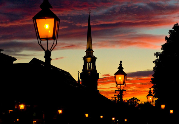 Newburyport: The setting sun throws color behind the Central Congregational Church in Newburyport this weekend. Jim Vaiknoras/staff photo
