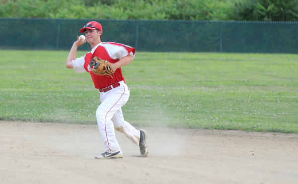 Rowley: Josh Creamer makes a play to first during post 150's game against Middleton at Eiras Field in Rowley. JIm Vaiknoras/staff photo