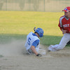Rowley: Haverhill's Nick Comes slides safetly into 2nd as Post 150's Richard Fecteau waits for the throw. Jim Vaiknoras/staff photo