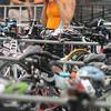 Amesbury:  Ann Hammer transition to her bike at the Dam Triathlon Saturday at Lake Gardner in Amesbury. Jim Vaiknoras/staff photo