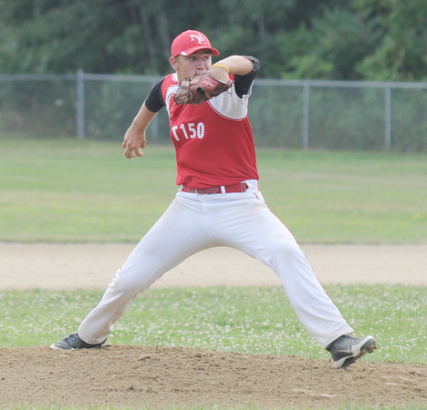 Rowley: Blaise Whitman fires one in during post 150's game against Middleton at Eiras Field in Rowley. JIm Vaiknoras/staff photo